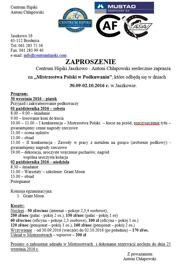 Zaproszenie Na Mistrzostwa Polski W Podkuwaniu Koni 3009 210